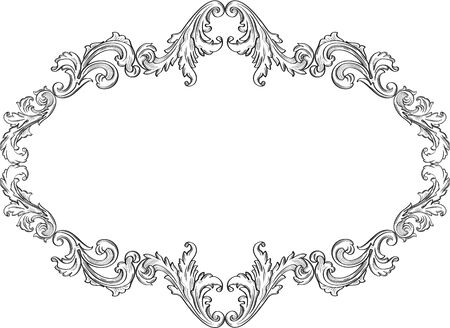 The curly ornement art frame on white