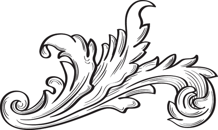 Acanthus scroll fine leaf on white Vettoriali