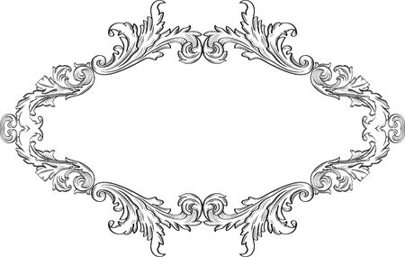 florid: Orient acanthus fine frame is on white