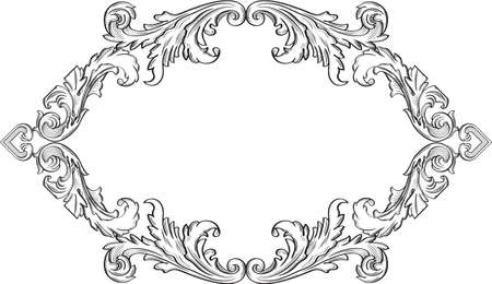 acanthus: Orient acanthus vintage frame is isolated on white Illustration