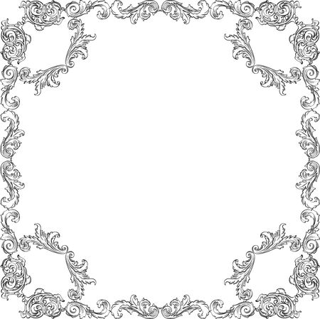 florid: Victorian baroque nice square art frame on white