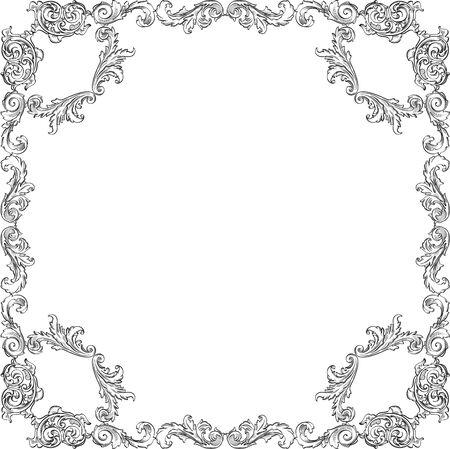 art frame: Victorian baroque nice square art frame on white