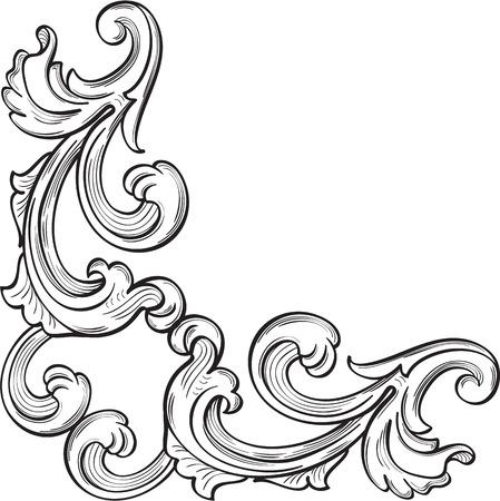 De barokke hoek mooie kunst element op wit
