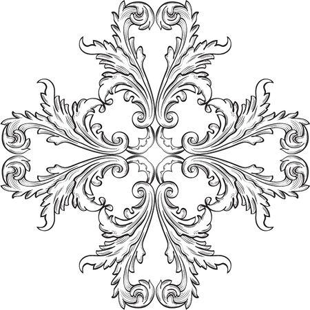 ornate frame: The rosette good element on white Illustration