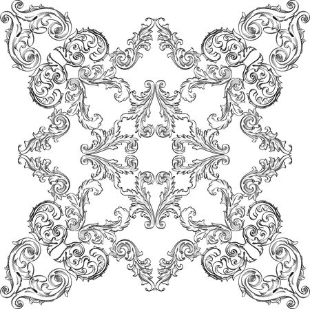 figuration: Vintage baroque nice rosette element on white