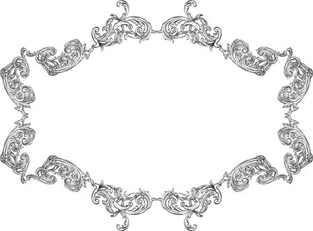 acanthus: Ornate acanthus nice ornament art frame on white