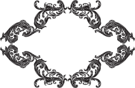 acanthus: Baroque black frame with acanthus is on white