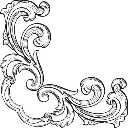 Baroque corner element is on white Illusztráció