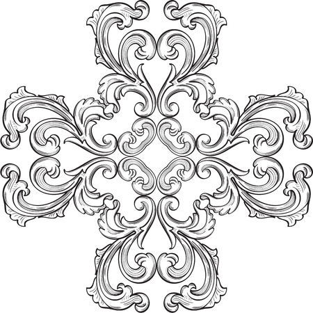 figuration: Baroque rosette element on white Illustration