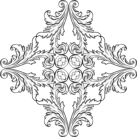 The rosette with acanthus leaf on white