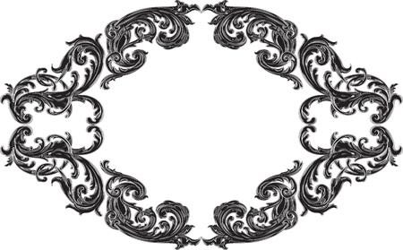 art frame: Black victorian art frame on white
