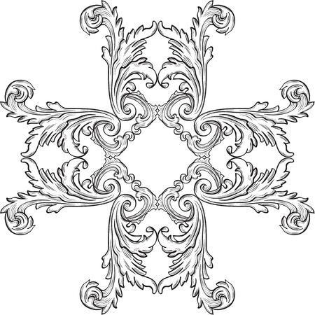 florid: The rosette vintage art on white Illustration