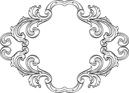 florid: Swirl art vintage good greeting frame on white
