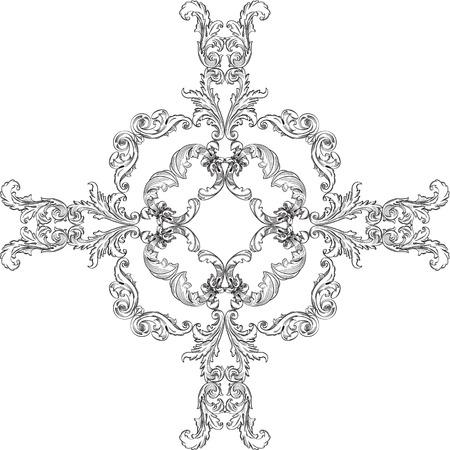 Baroque rosette pattern on white