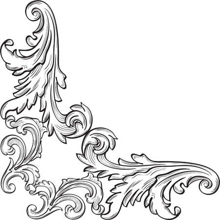 The corner with nice acanthus leaf on white
