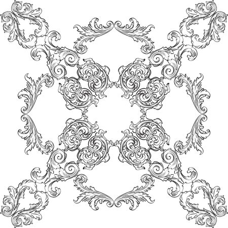 figuration: Victorian baroque rosette art on white