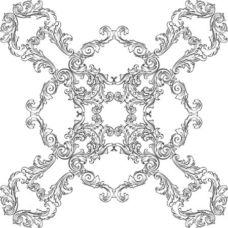 figuration: The victorian baroque rosette good art one on white Illustration