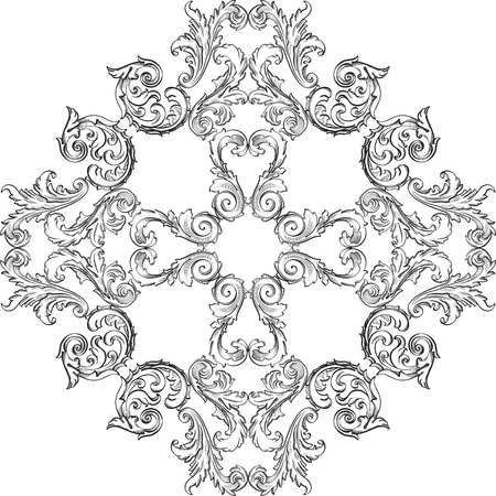 Victorian baroque rosette good art on white Illustration