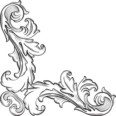 Baroque ornate corner fine element on white