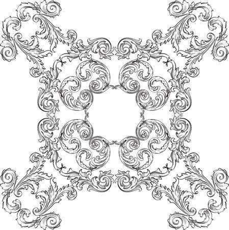 florid: Baroque art rosette nice pattern on white