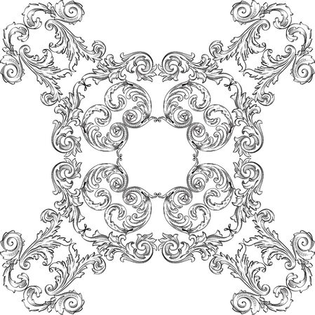 Baroque art rosette nice pattern on white
