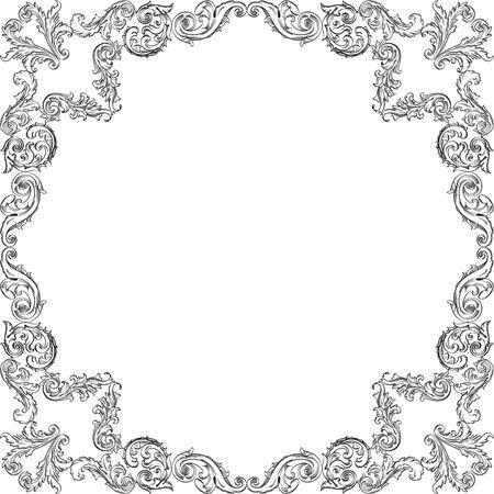 art frame: Vintage baroque nice square art frame on white