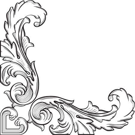 figuration: The corner vintage nice element on white Illustration
