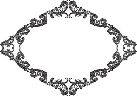 florid: Baroque frame with acanthus on white Illustration