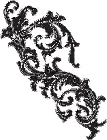 De single blad zwarte acanthus is op witte
