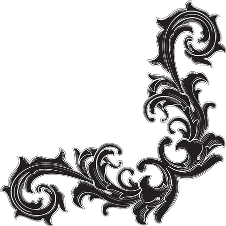 gothic style: Black corner pattern is isolated on white