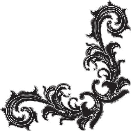 Zwarte hoek patroon is geïsoleerd op wit Stock Illustratie