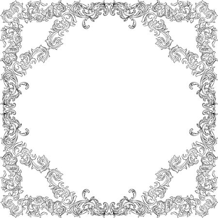 acanthus: Acanthus leaf retro frame pattern is on white Illustration