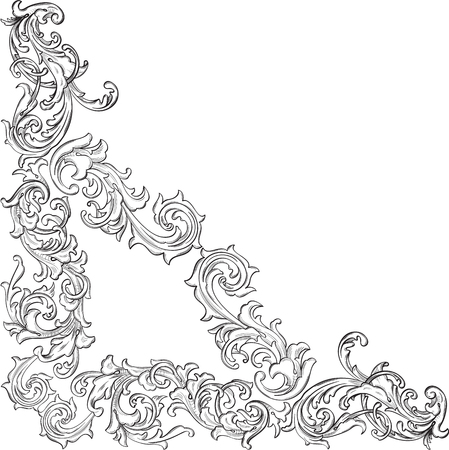 acanthus: Acanthus leaf retro corner pattern is on white