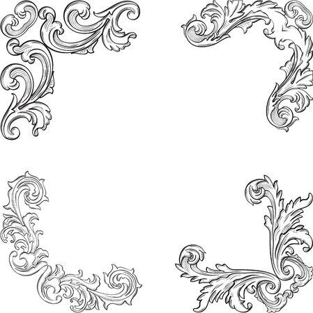 Baroque retro corner set is on white Illustration