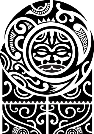 shoulders: Maori art pattern is isolated on white