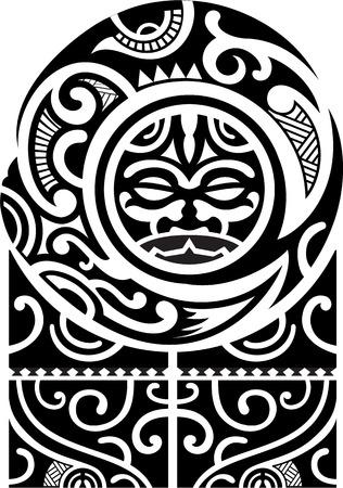 Maori art pattern is isolated on white