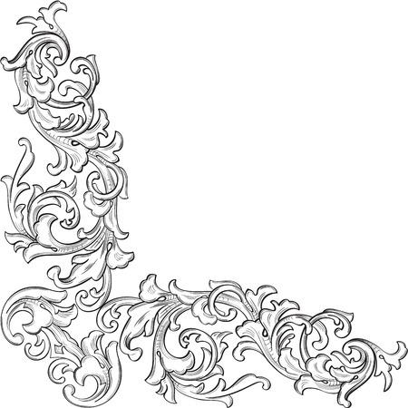 esquineros de flores: El elemento de arte de la esquina de acanto vendimia est� en blanco Vectores