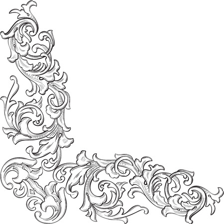 The vintage acanthus corner art element is on white