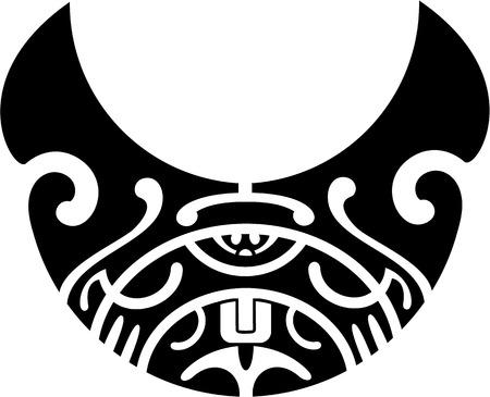 polynesian ethnicity: Maori pattern is isolated on white Illustration