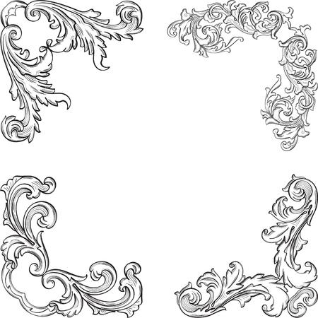 florid: Baroque art fine corner set is on white Illustration