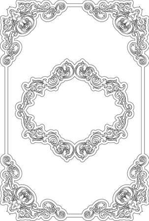 figuration: Retro fine swirl border isolated on white