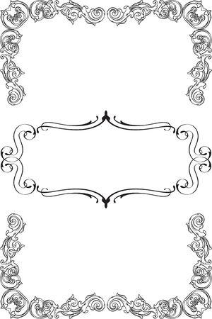 figuration: Vintage art ornate greeting frame isolated on white Illustration