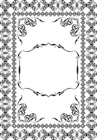 Baroque nice vintage art page is on white Illustration