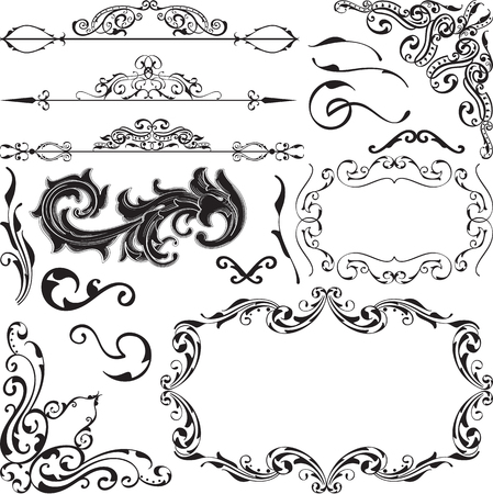 florid: Ornate set is isolated on white