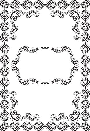 figuration: Retro ornate luxury art frame is on white