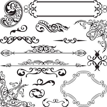 Barokke sierlijke set is geïsoleerd op wit