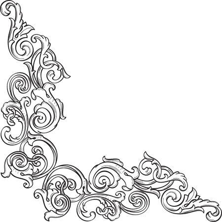 Victorian real ornate corner isolated on white Stock Vector - 51456173