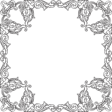 scroll tracery: Victorian real ornate art frame isolated on white