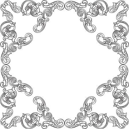 florid: Retro victorian frame isolated on white Illustration