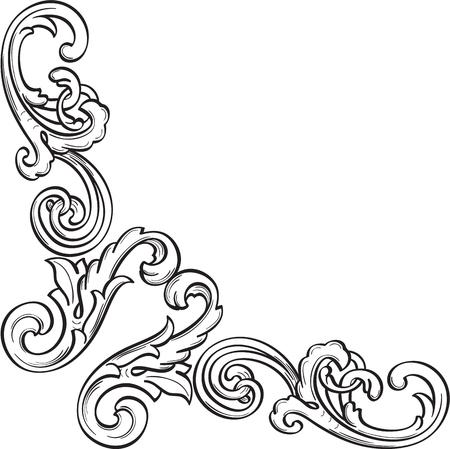 Baroque art fine corner is isolated on white Stock Vector - 51456176